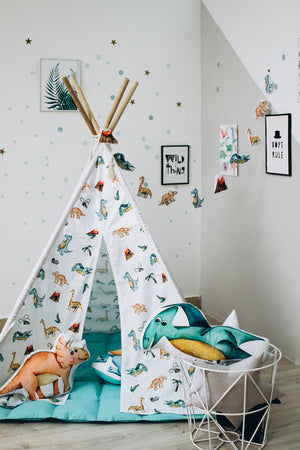 dinosaur bedroom ideas in kids room, stuffed dinosaur pillow in childrens room