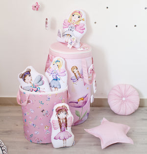 kids pillow with princess, decorative pillows with fairies in girls room