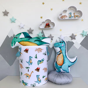 baby room decor with T-Rex and pterodactyl pillows, decorative pillows with dinosaur