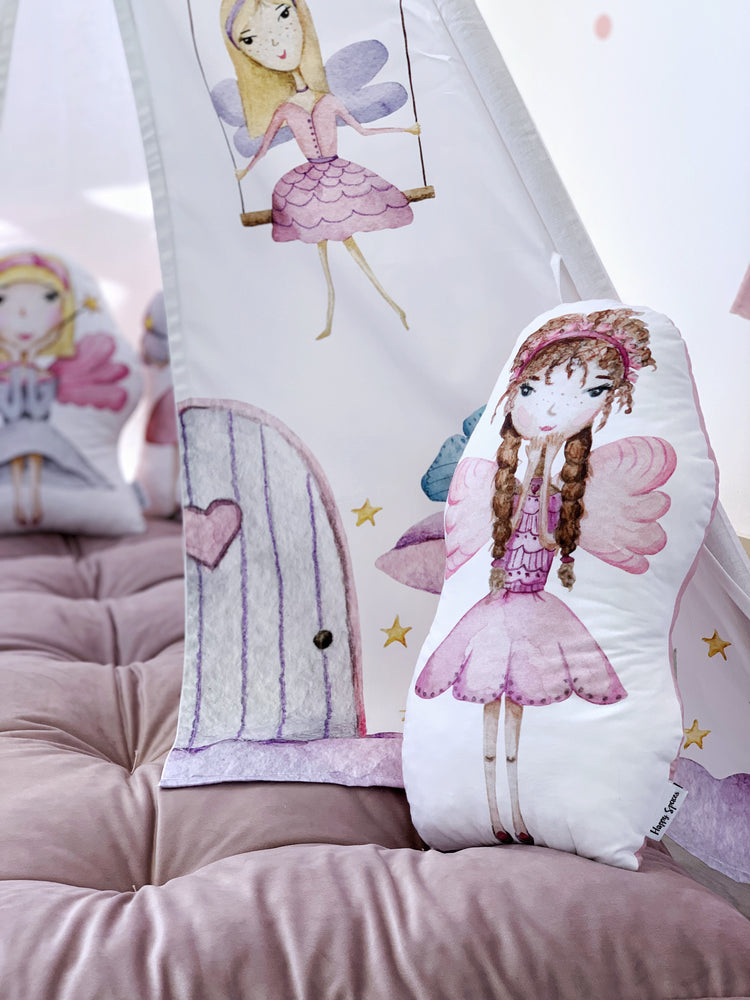 fairies themed bedroom, cushion with magical princess