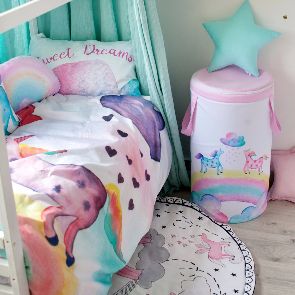 bedding for girls, kids bedding with unicorns, the unicorn, unicorn bed set, unicorn bedding, rainbow pillow