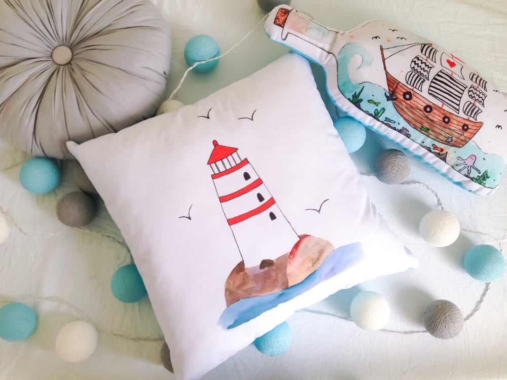 Ship in the bottle cushion