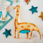diplodocus decorative pillows, stuffed dinosaur pillow in kids room