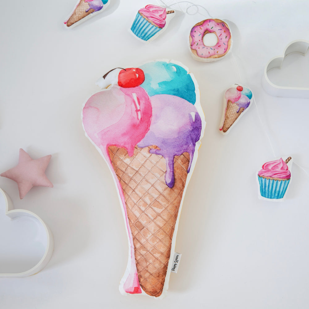 Yummy ice cream cushion for girls room, baby room decor with yummy pillows