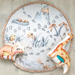 Round rug with dinosaurs, dinosaur bedroom accessories with round rug, round rug with dinosaurs dinosaur room decor with round rug