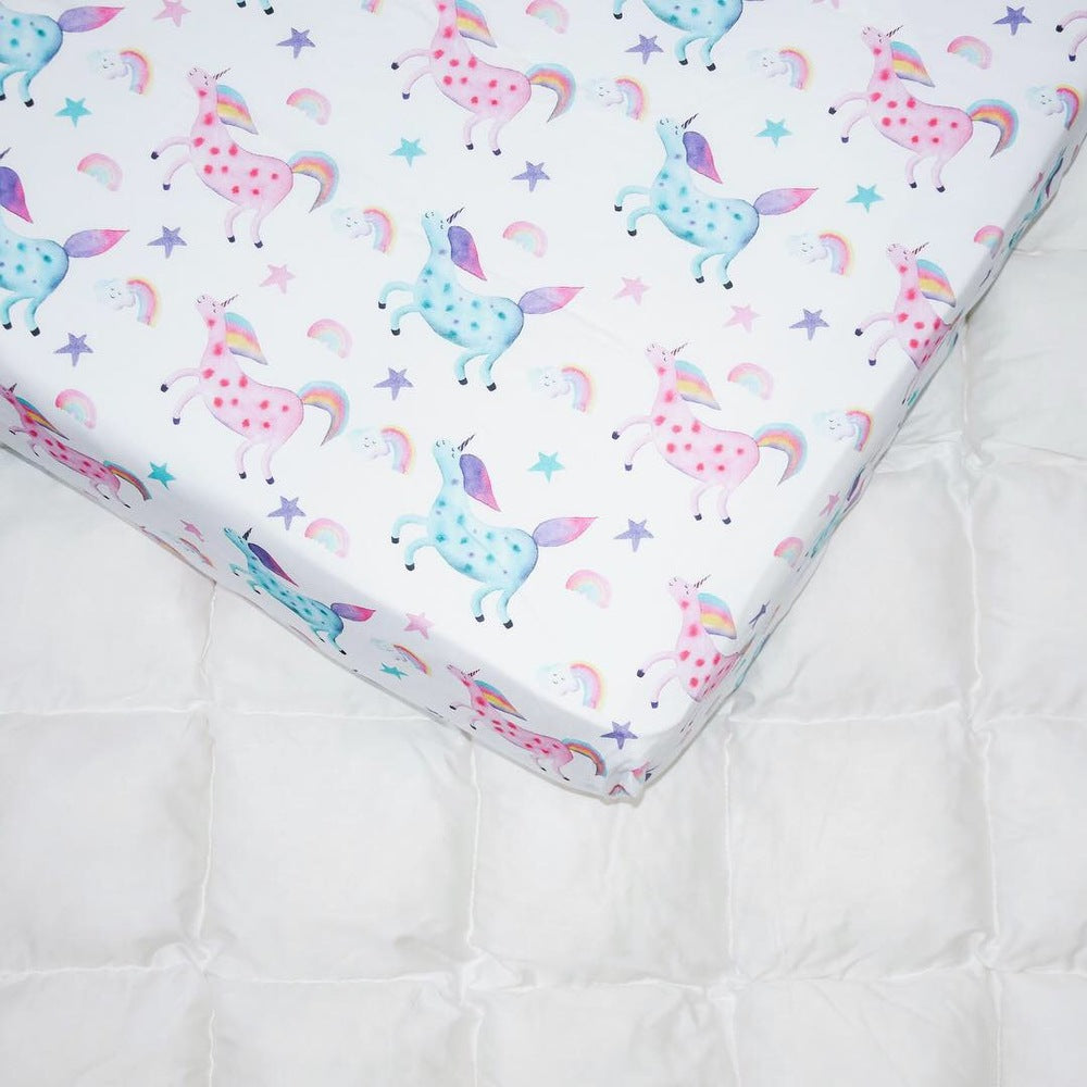 Happy Spaces bed sheets, bed sheets with unicorns, bed sheets for girls, bed sheets with rainbow, bed sheets with cloud, bed sheets for kidsbed sheet, kids bedding