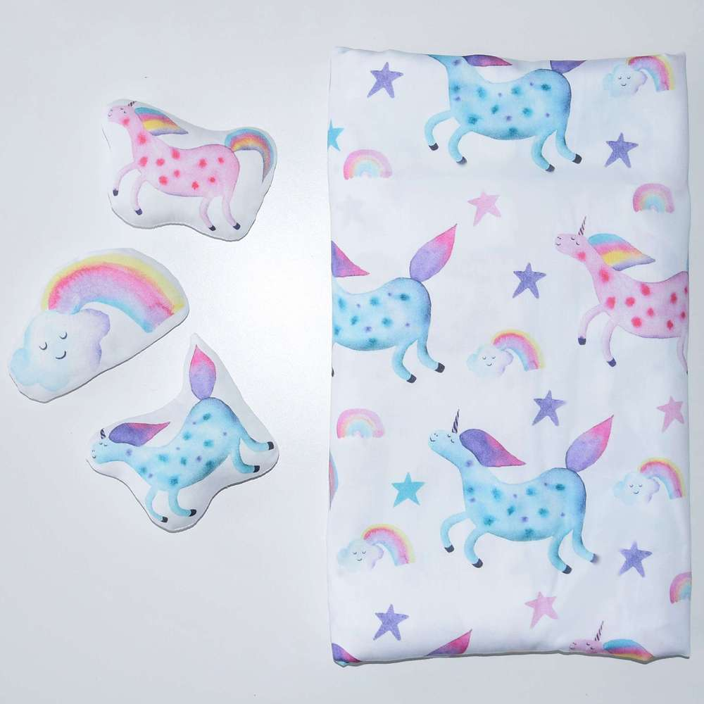 the unicorn, pink unicorn, blue unicorn, Happy Spaces bed sheets, bed sheets for girls, bedding for kids