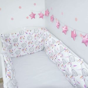 crib bumper with pink dream catchers for girls room, cot bumpers with dream catchers , dream catchers bedroom accessories, baby room with cot bumpers