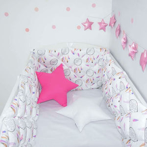 crib bumper with dream catchers for baby room, white crib bumper for girls room, pink cot bumpers with dream catchers