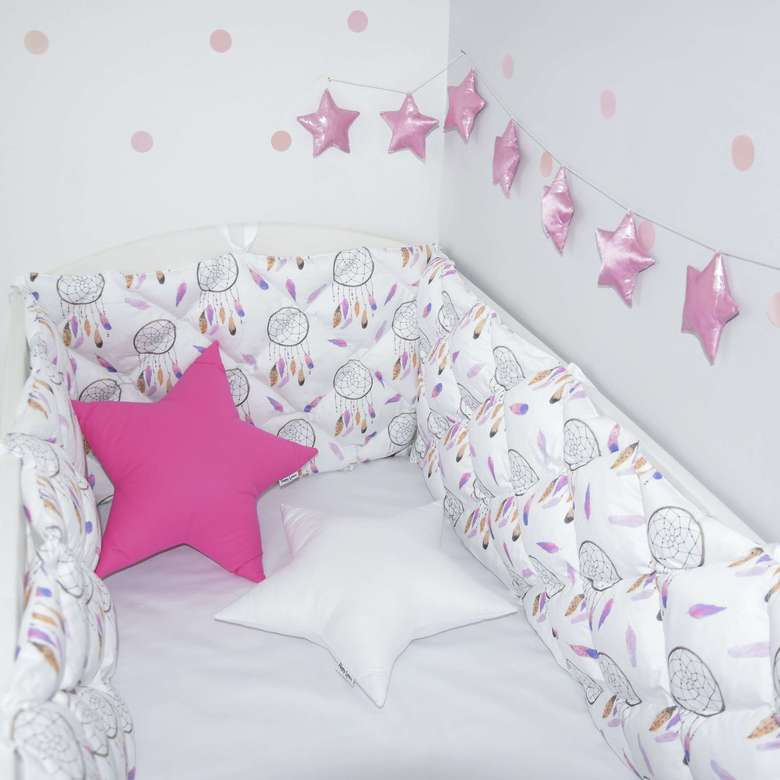 dream catchers room with quilted crib bumper, cot bumpers with dream catchers pattern
