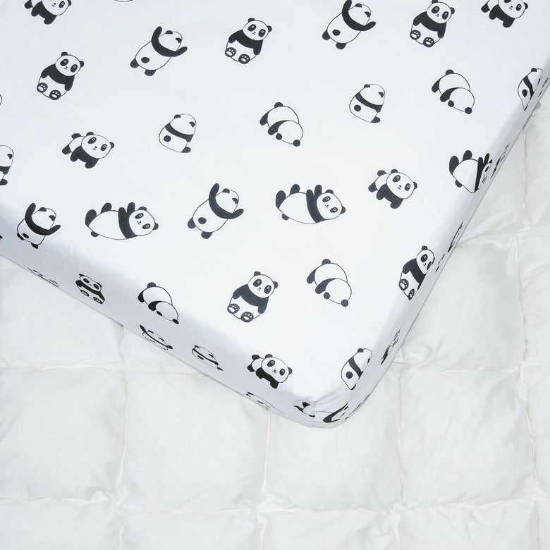 bed sheets with pandas, bed sheets for girls, bed sheets for boys, black and white bed sheets, Happy Spaces bed sheets, sheets for kids