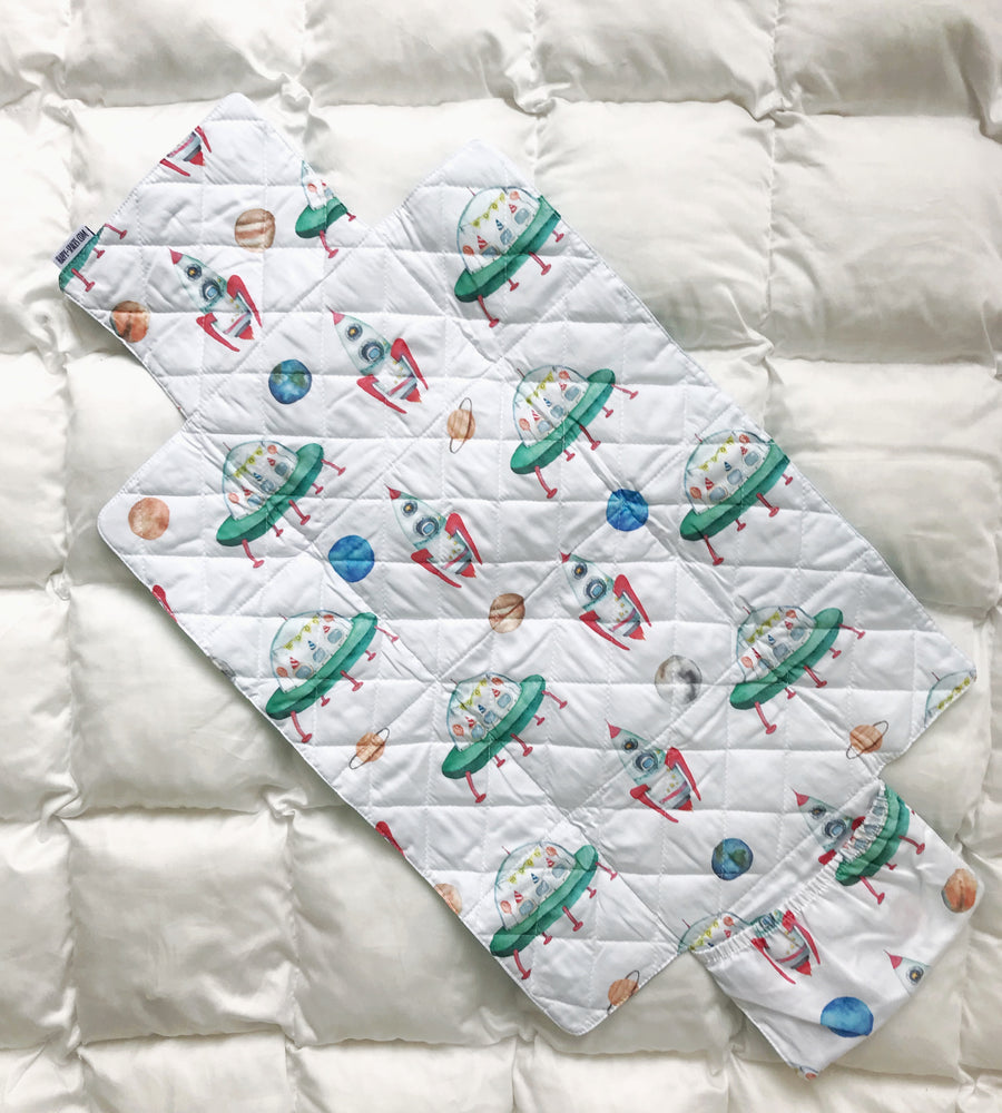 baby changing mat for boys, changing mat with rockets, baby changing pad