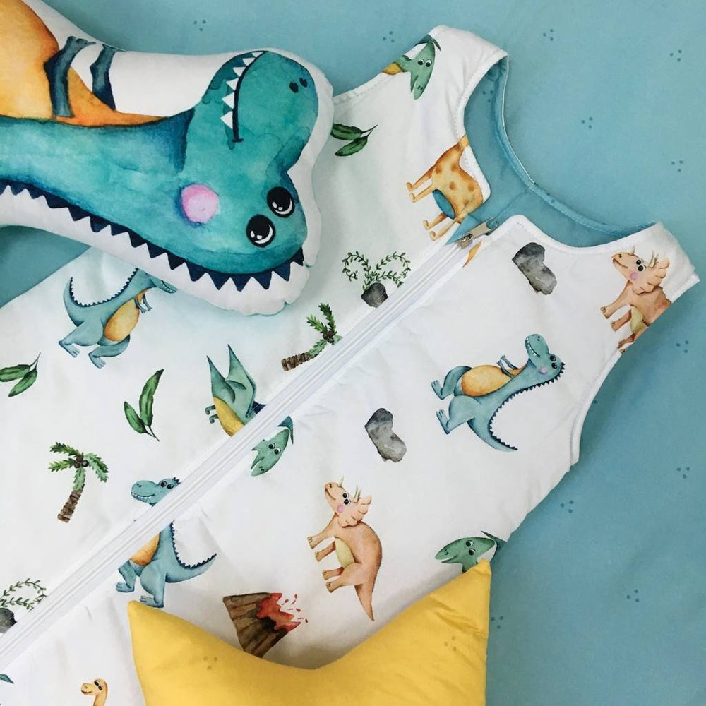 sleeping bag with dinosaurs, mint swaddle sack, Happy Spaces sleeping bag, swaddle sack for boys