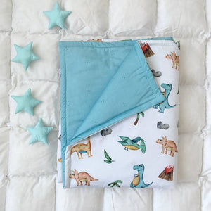 turquoise blanket, baby blankets with dinosaurs,dinosaur room decor, dinosaur bedroom decor, blanket baby with T-Rex, blankets for boys,mint blanket