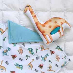 Warm satin blanket with dinosaurs pattern