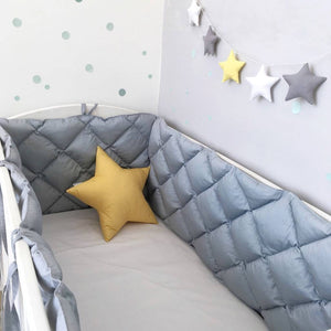 grey crib bumper for baby room, grey crib bumper for boys room, grey cot bumpers for girls room