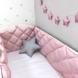 pink crib bumper for baby room, pink crib bumper for girls room, pink cot bumpers for girls room