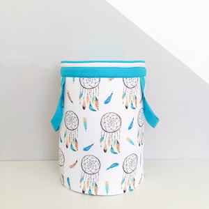 Toy`s basket with blue dream catchers pattern