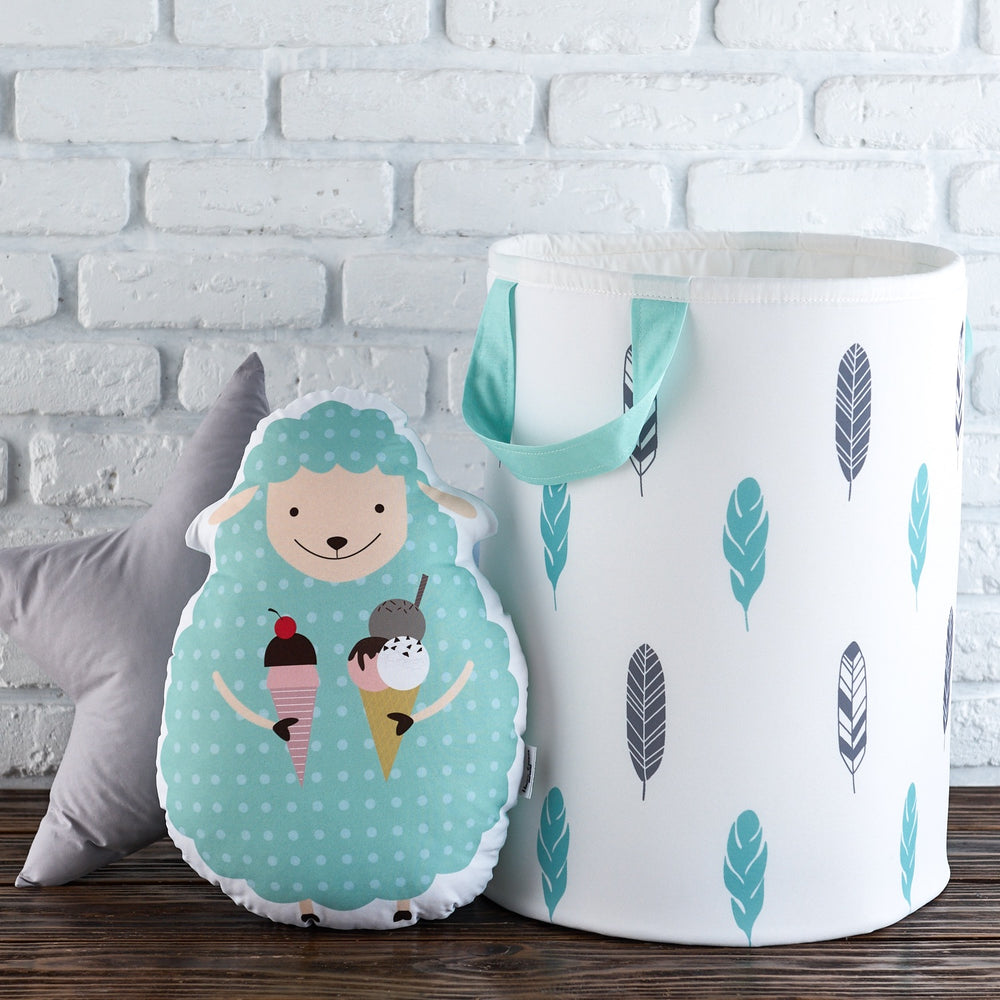 turquoise pillows, sheep cushion for kids room, accent pillows for baby room,