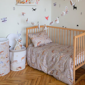 Duvet cover and pillowcase with forest animals pattern