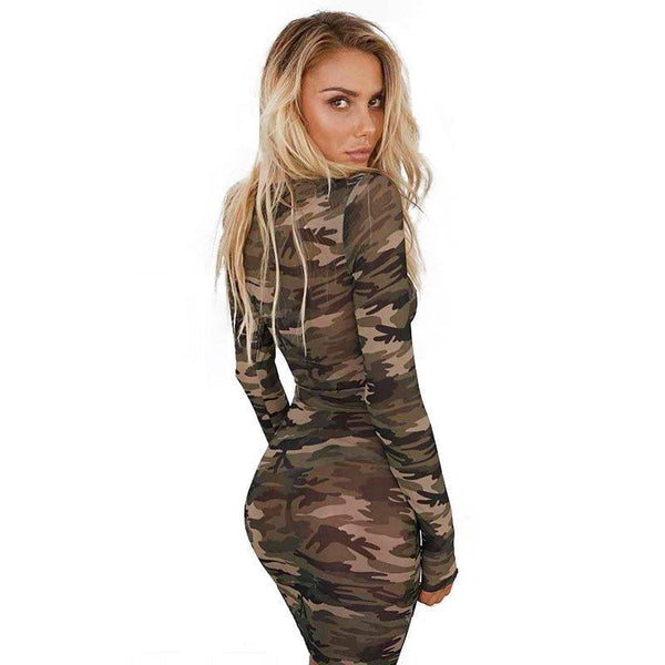 Camouflage long-sleeved dress women