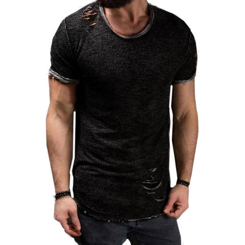 High Quality Summer Ripped Hole t shirt Men Short Sleeve t-shirt Fitness Men's Funny tshirt Plus Size 4XL Hip Hop streetwear