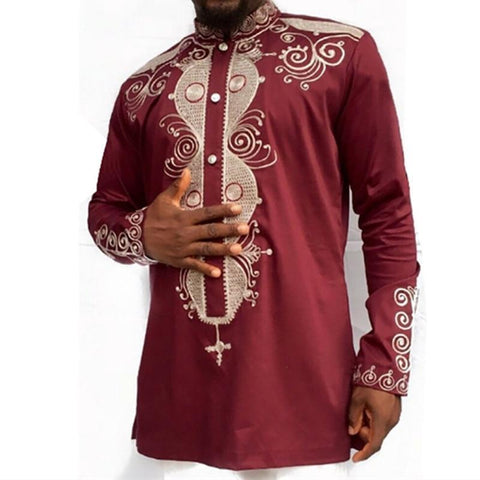 New African Clothes Shit Men Dashiki Traditional Printed Stand Collar Long-sleeved Shirt Red Color For Wedding Plus Size 3XL