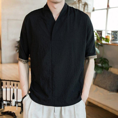 PODOM Summer Spring Men Linen t-shirts Casual 5XL Plus Size Loose Cotton tshirt Men Vintage V-neck t-shirt Chinese Style Clothes