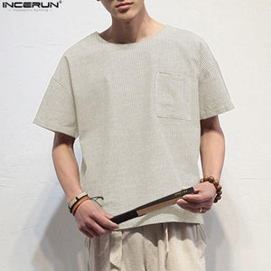 INCERUN 2018 Summer Men Casual Chinese Style Cotton Linen T Shirts Pockets Short Sleeve Loose Flax striped t-shirt Plus Size 3XL
