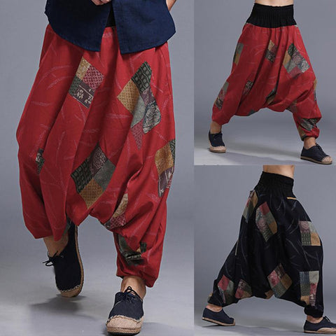 INCERUN Plus Size S-5XL Loose Men's Harem Pants Baggy Floral Big Crotch Cross Casual Trousers Joggers HipHop Male Retro Chinese