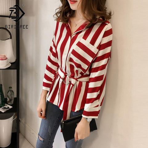 Plus Size 4XL 2018 New Fashion Summer Women's Shirt Striped Sweet Casual Turn-down Collar Full Sleeve Women Clothing T87647LD