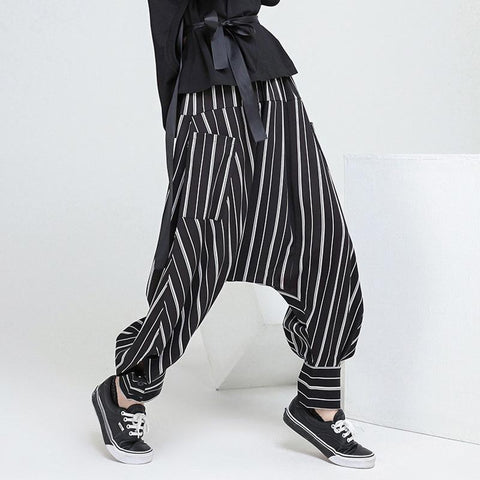 INCERUN 2018 Hot Sale Men Clothing Hip Hop Streetwear Striped Loose Crotch Harem Pants Baggy Male Fashion Plus Size Trousers Men