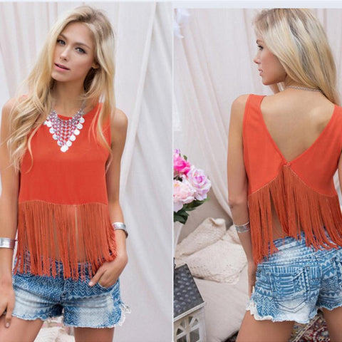 Fashion Women Shirt Tassel Casual Short Sleeve Solid Color Shirts Top V-neck Women's Orange Tassel Clothing Plus Size
