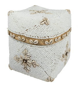 Beaded bamboo keepsake box