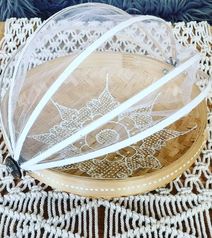 Bamboo Food Tray with net cover