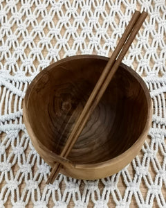 Teak Root Ramen Bowls with Chopsticks