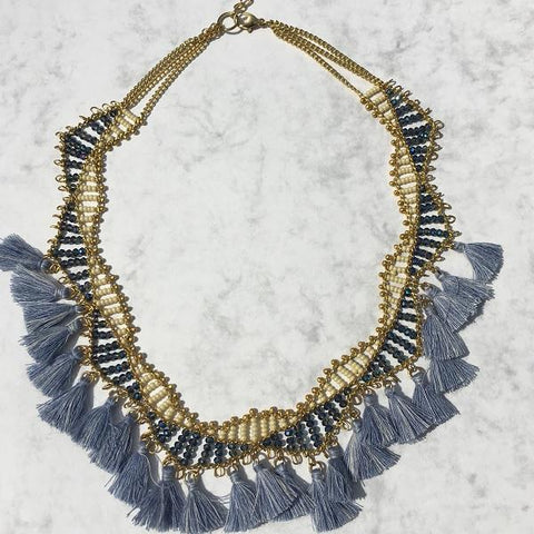 Blue Bead and Tasseled Necklace