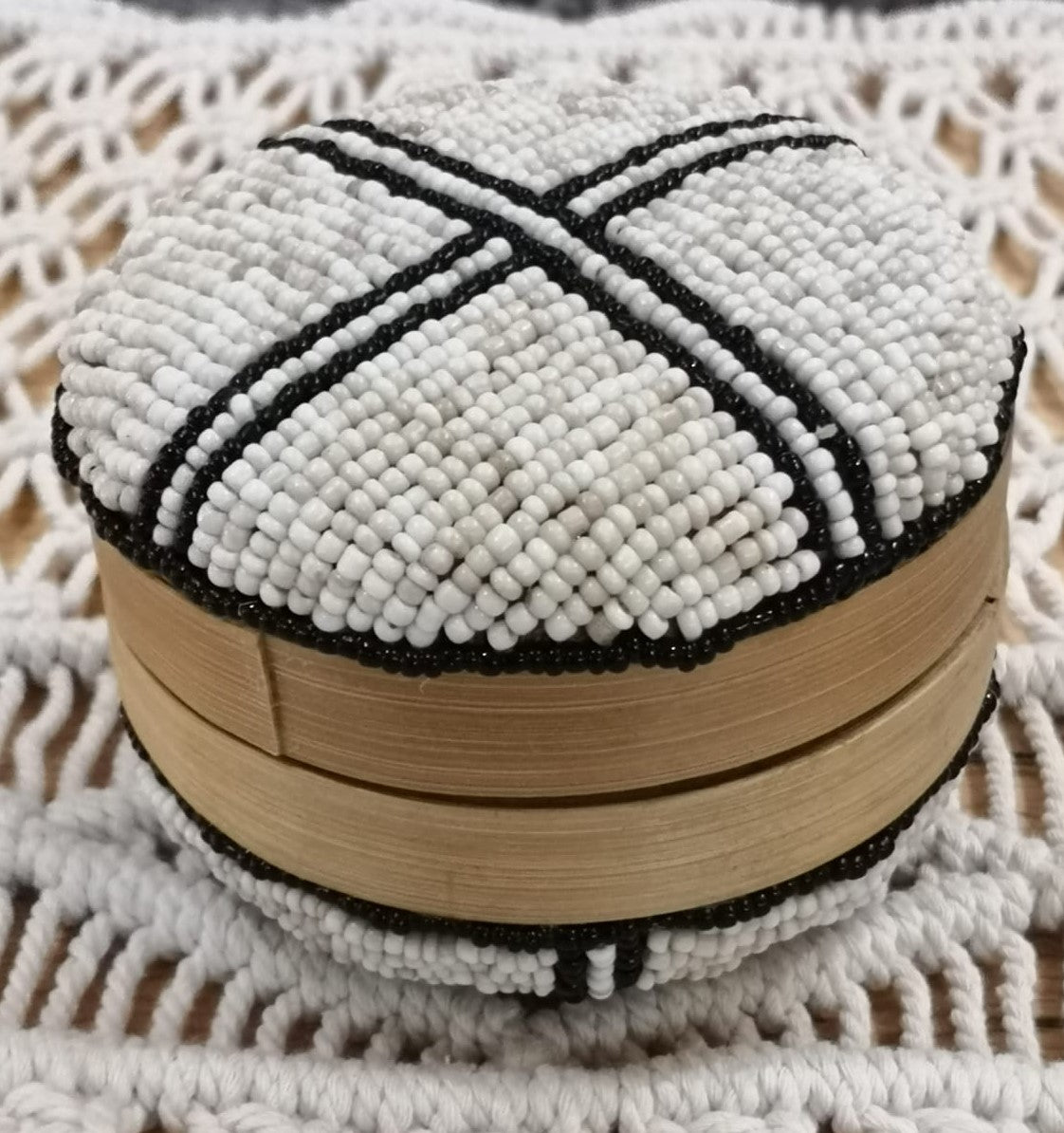 Beaded Trinket Box Round