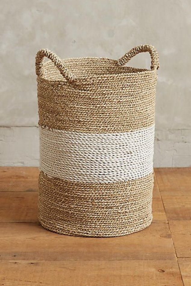 Seagrass Basket - Natural and white