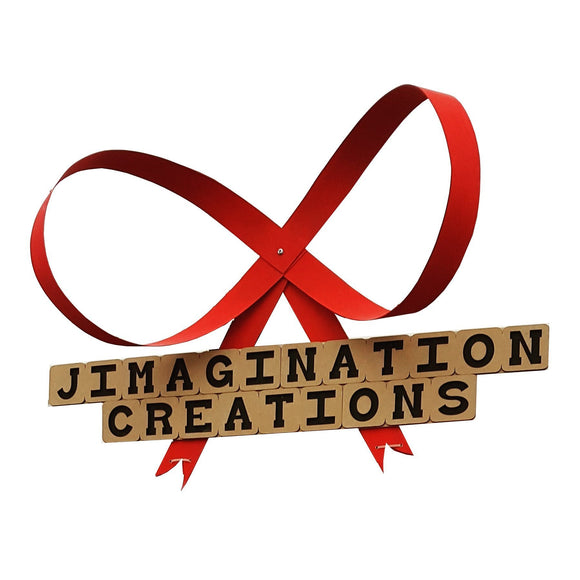 Jimagination Creations sign with a giant red wooden bow above it.