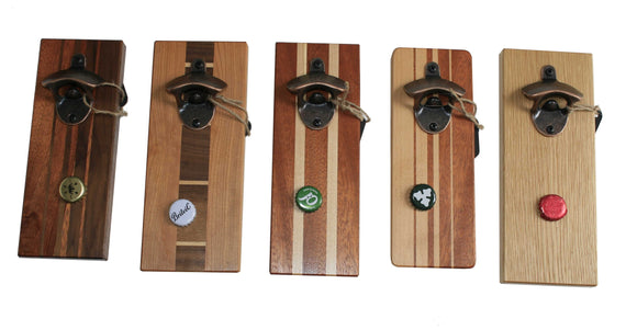 Wall mounted wooden bottle opener with magnetic lid catch