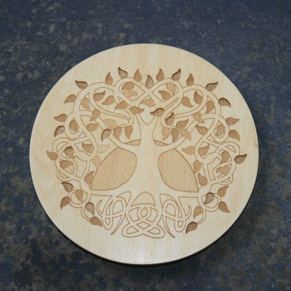 Image of a Jimagination Creations round wooden coaster with a Celtic Tree Of Life design