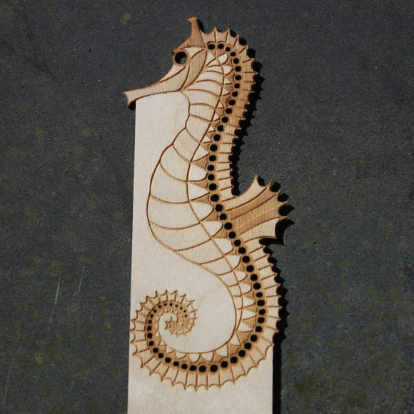 image of a JImagination Creations wooden bookmark with a seahorse design