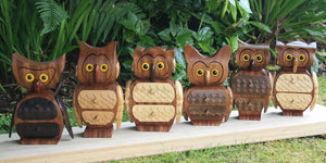 Image of 6 bespoke handmade owl jewellery boxes stood on a row looking at you!