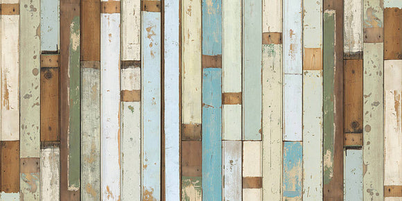 image of a distressed looking wooden plank wall with various coloured planks.