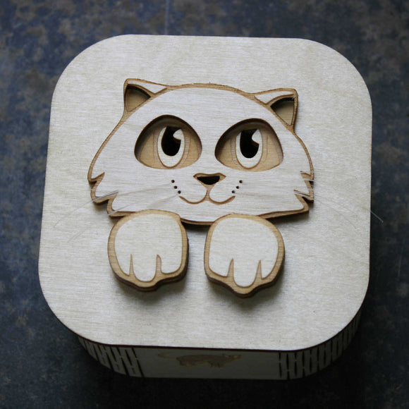 Wooden laser cut & engraved box with a cat theme