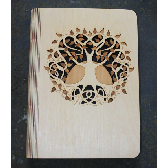 Wooden note book cover with a Celtic Tree of Life design