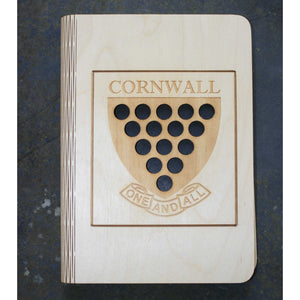 A5 Cornwall shield wooden book cover