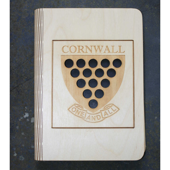 wooden note book cover with a Cornwall shield design