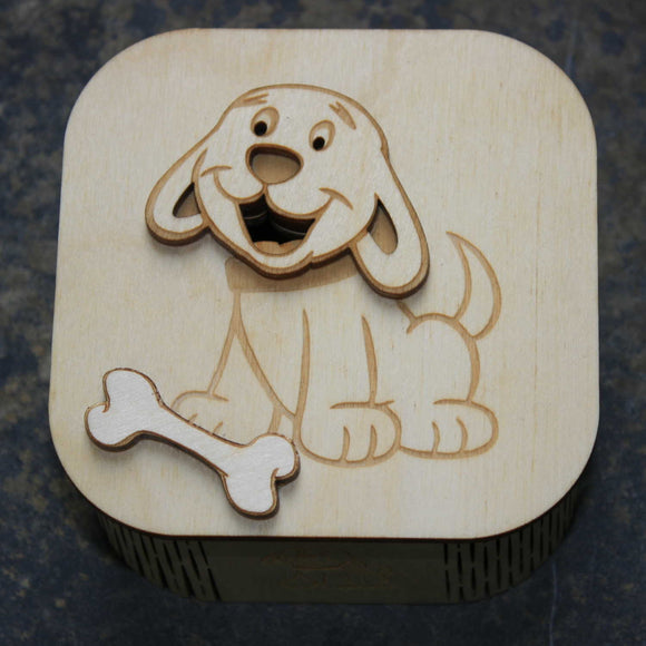 Wooden laser cut & engraved box with a dog design